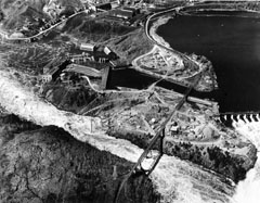Onset of construction work at the Shawinigan-3 generating station at the base of Shawinigan Falls